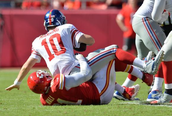 Eli goes down
